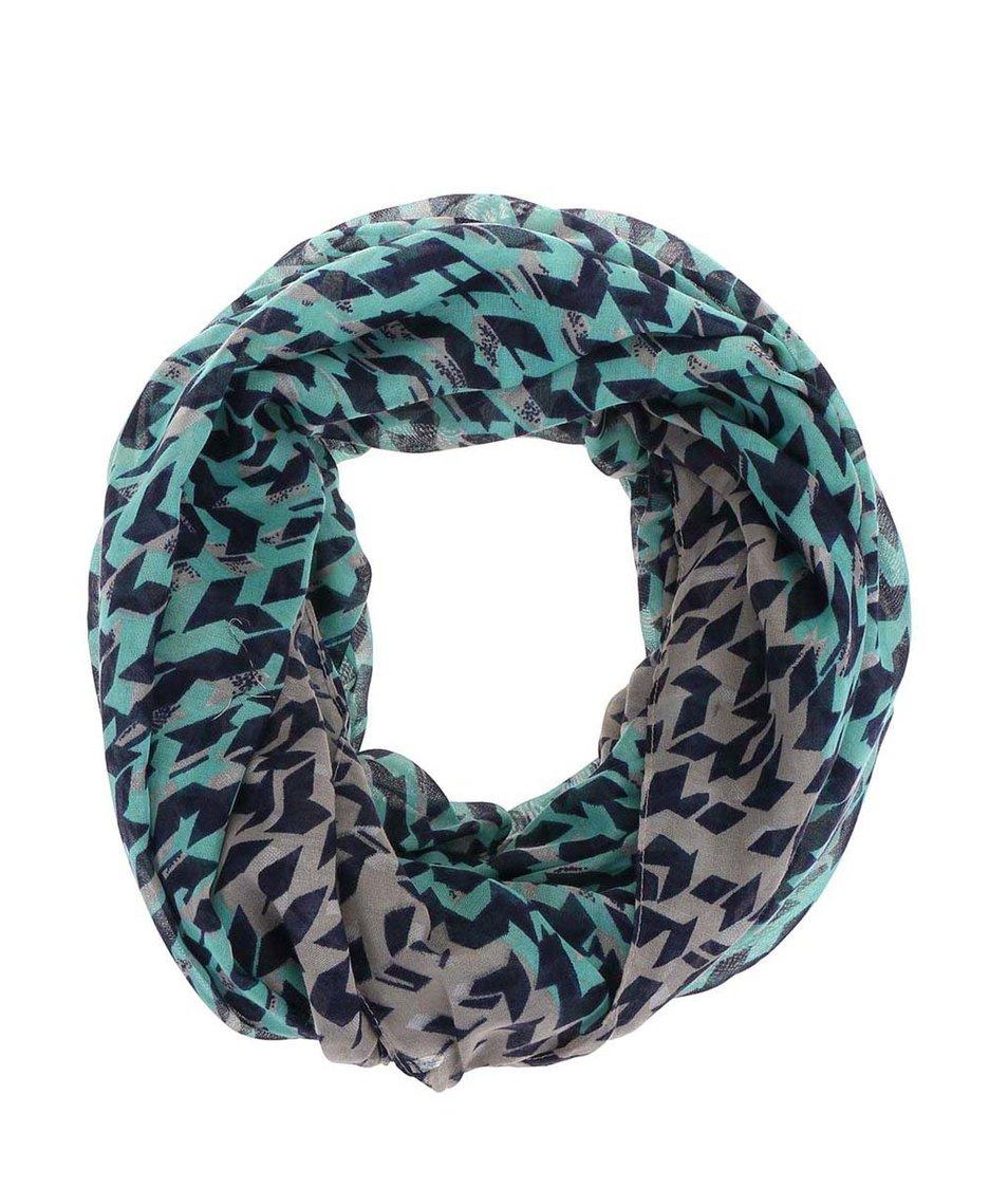 Šedo-zelený dutý vzorovaný šátek Pieces Vilda