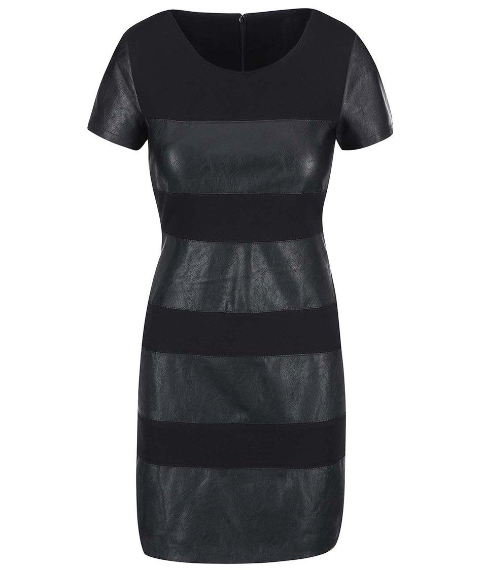 Černé šaty s koženkovými detaily ONLY Margot