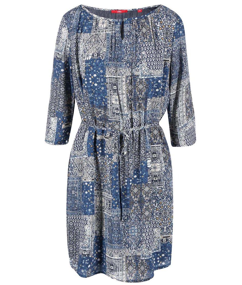 Modré šaty se vzorem s.Oliver