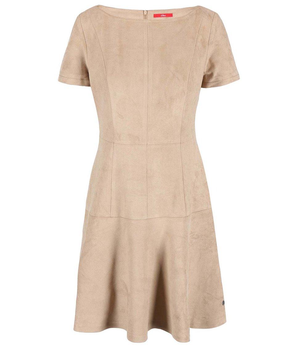 Béžové koženkové šaty s.Oliver