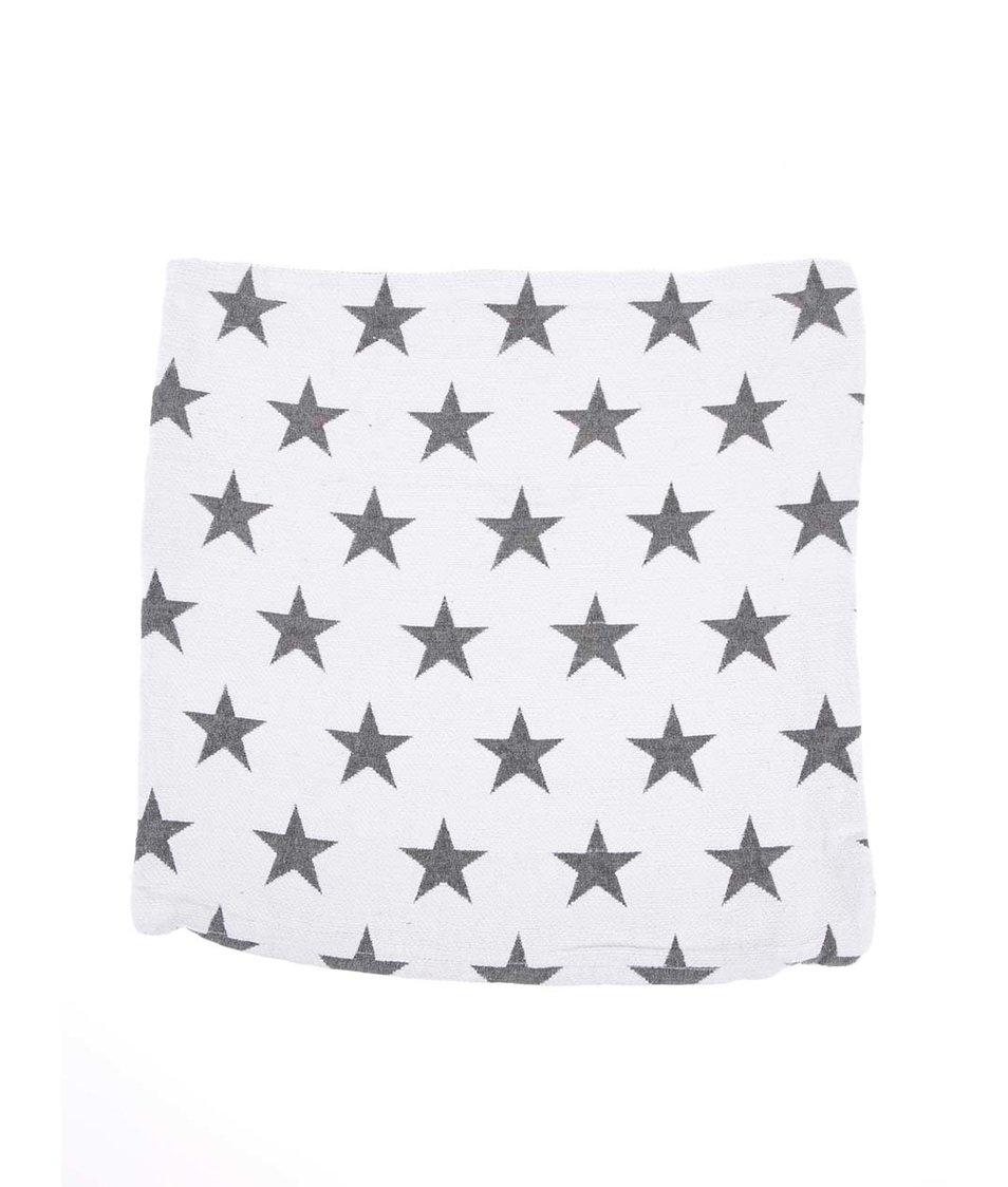 Bílý návlek na polštář s hvězdami Dakls