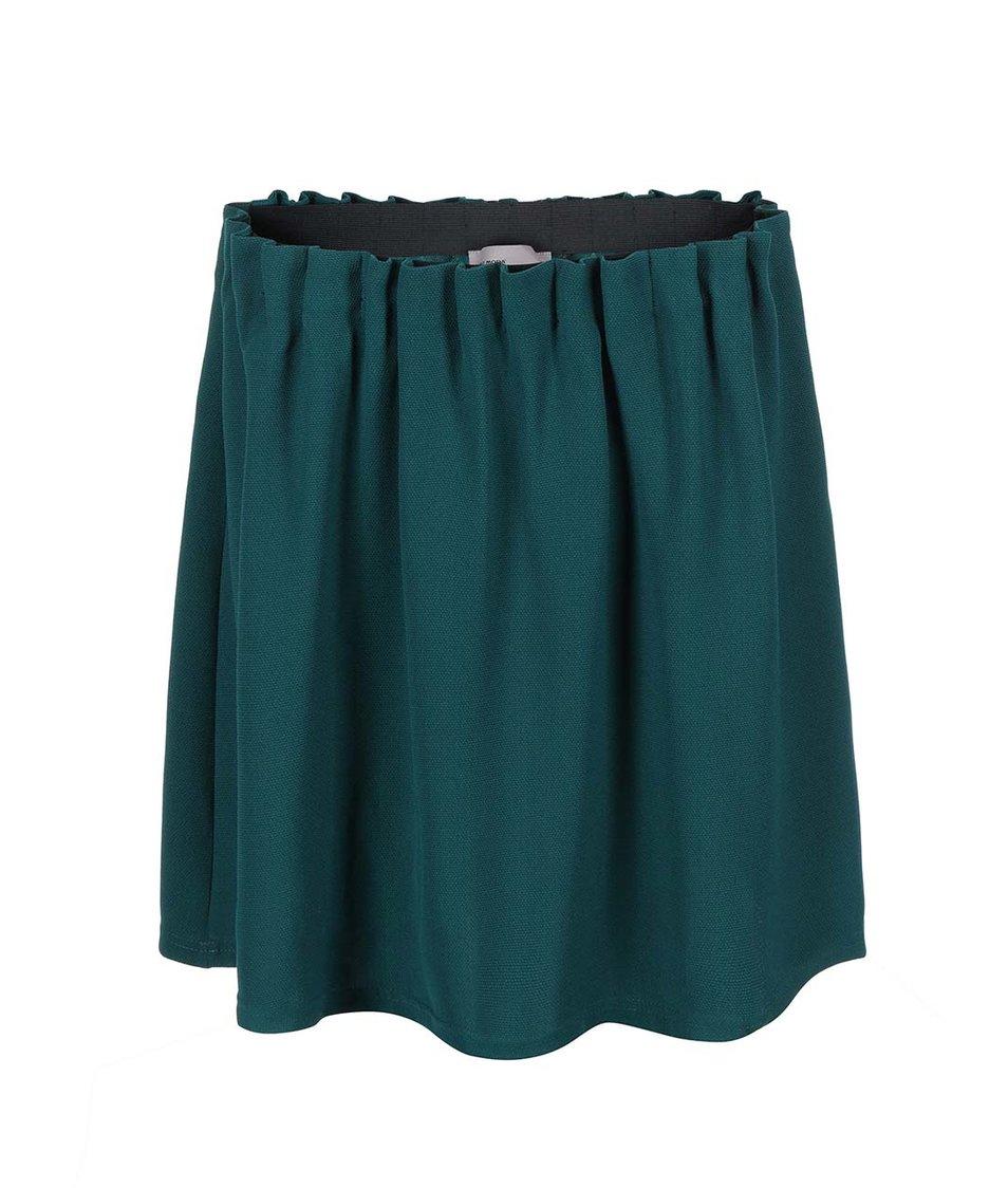 Tmavě zelená sukně s nařaseným pasem Vero Moda Camille