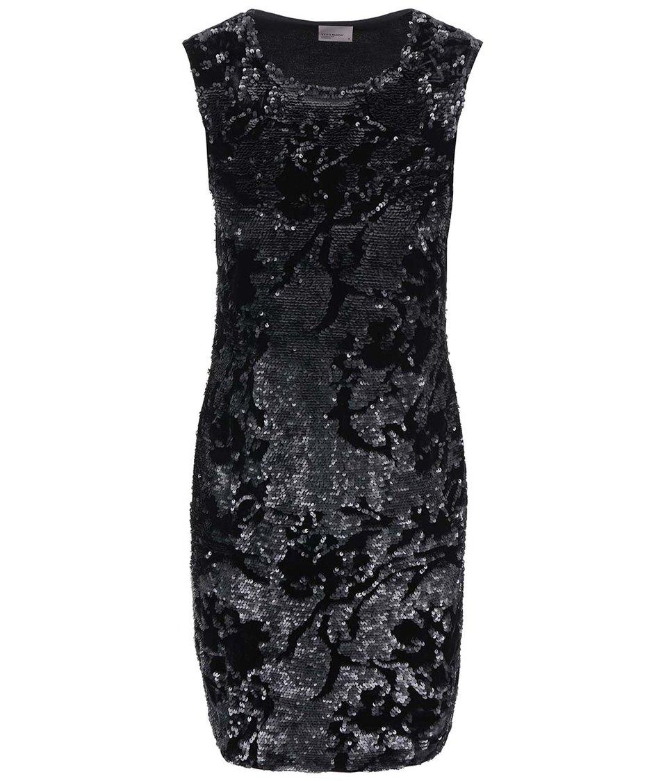 Černé sametové šaty s flitry Vero Moda Moss