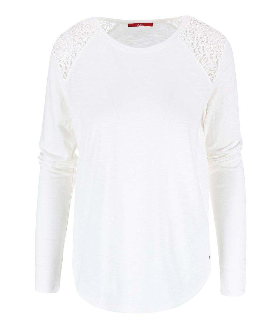Krémové dámské tričko s dlouhým rukávem s.Oliver
