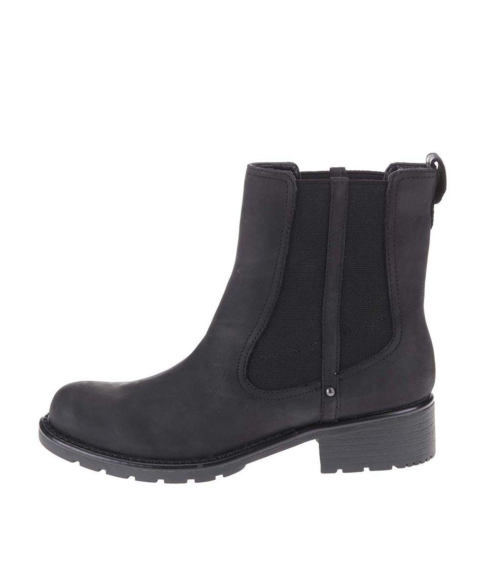 Černé kožené kotníkové chelsea boty Clarks Orinoco Club