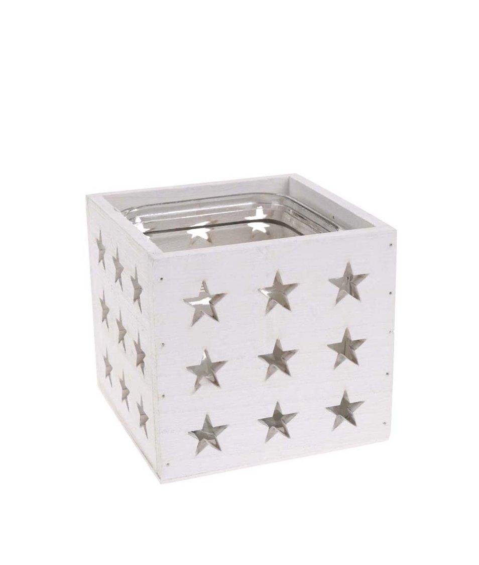 Bílý dřevěný svícen s hvězdami Dakls