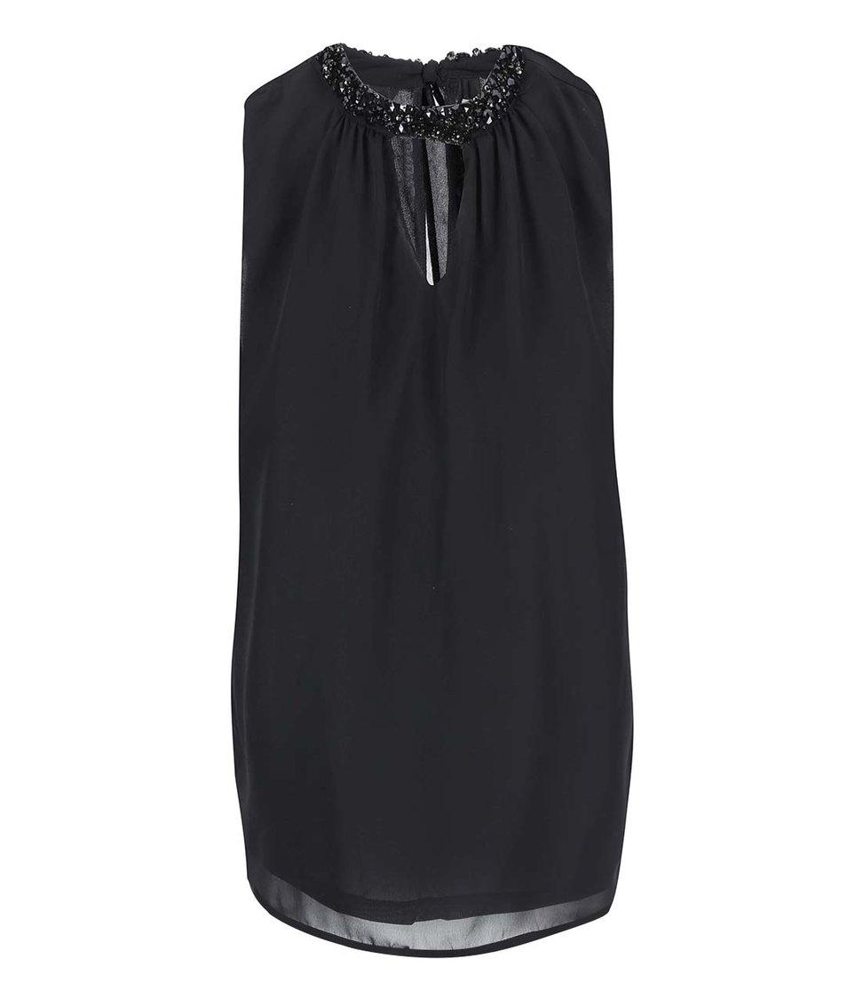 Černý top se zdobným detailem Vero Moda Lina