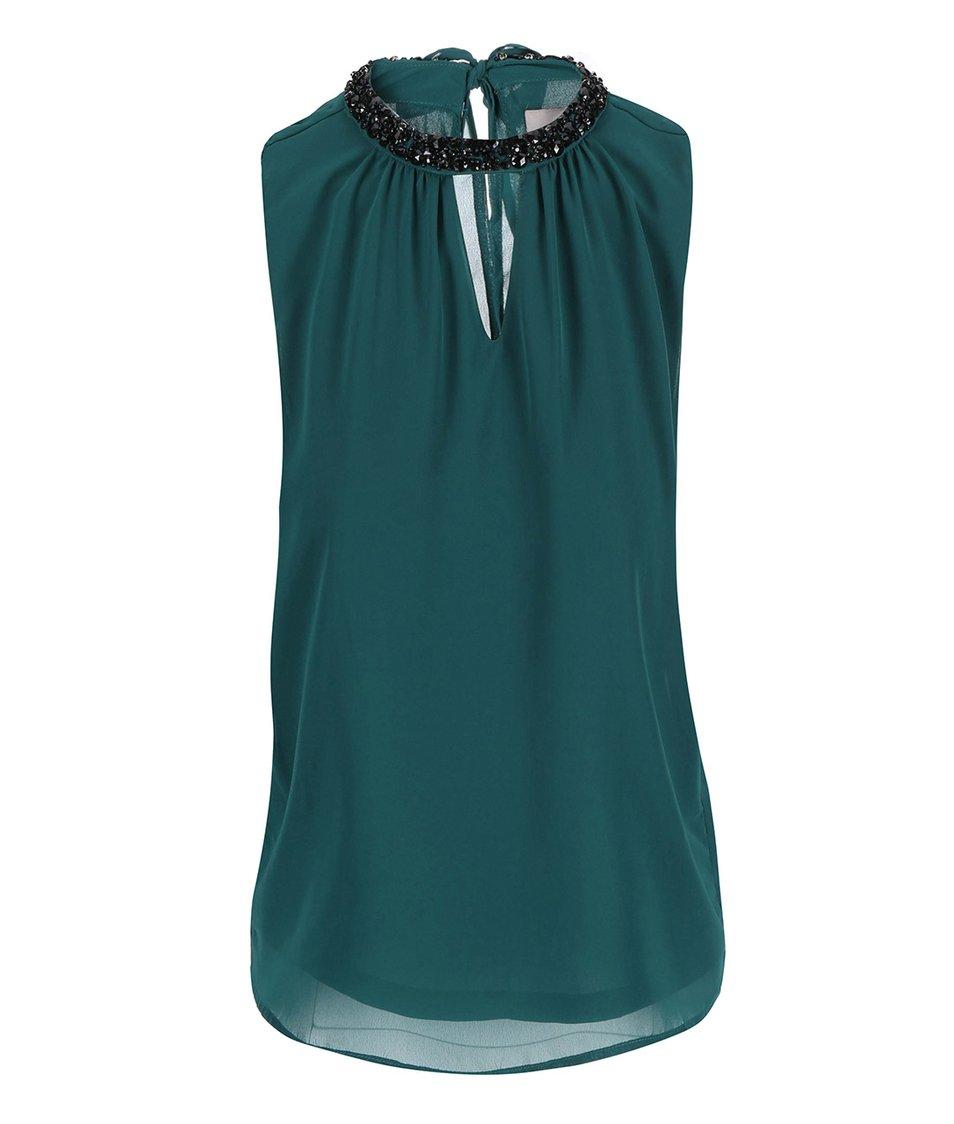 Tmavě zelený top se zdobným detailem Vero Moda Lina