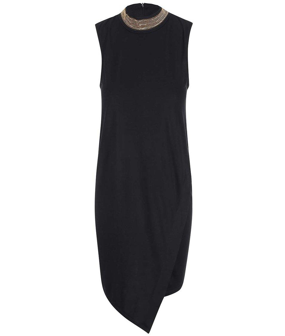 Černé šaty se zdobeným límečkem Vero Moda Savon