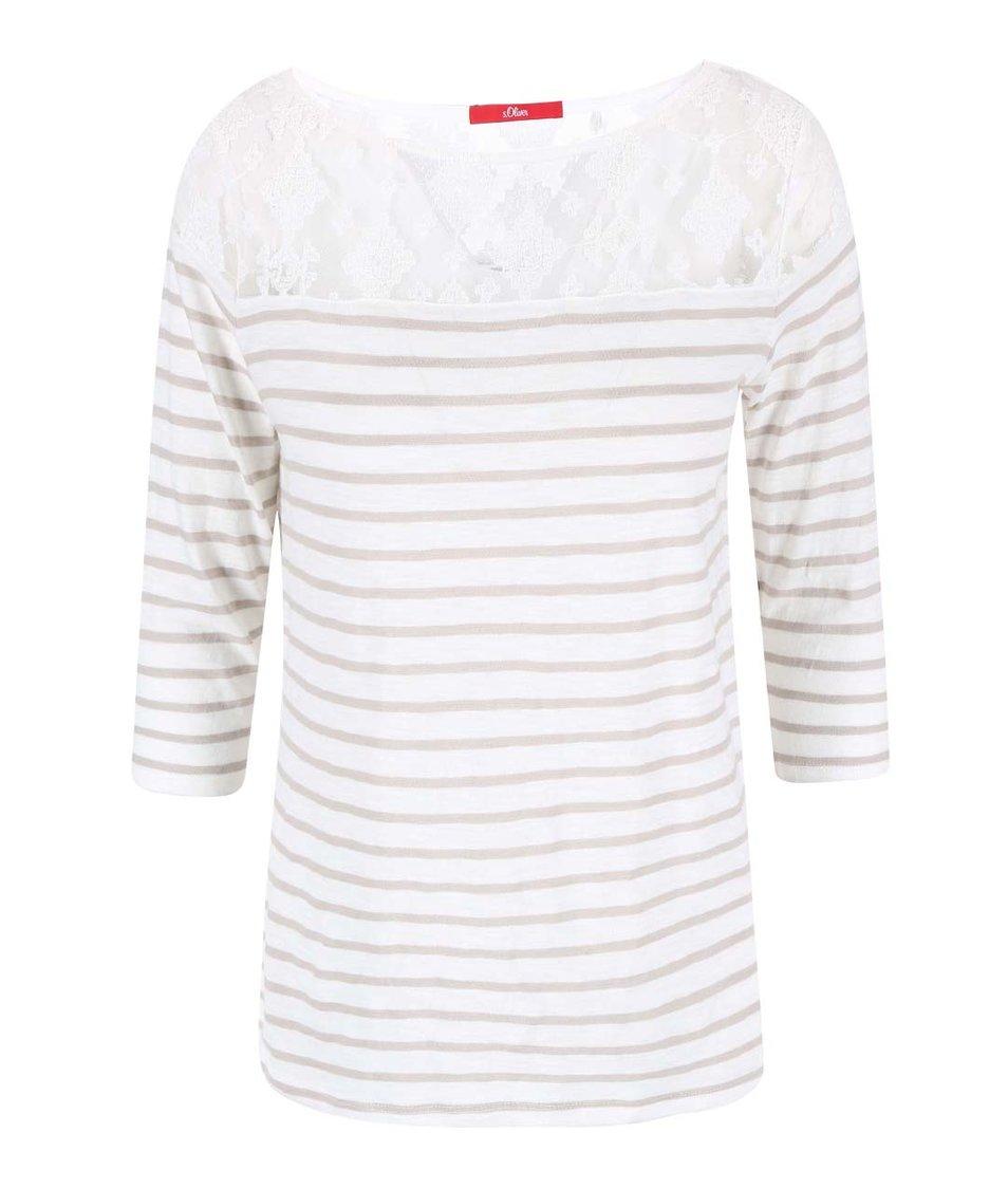 Krémové dámské tričko s hnědými pruhy a krajkou s.Oliver
