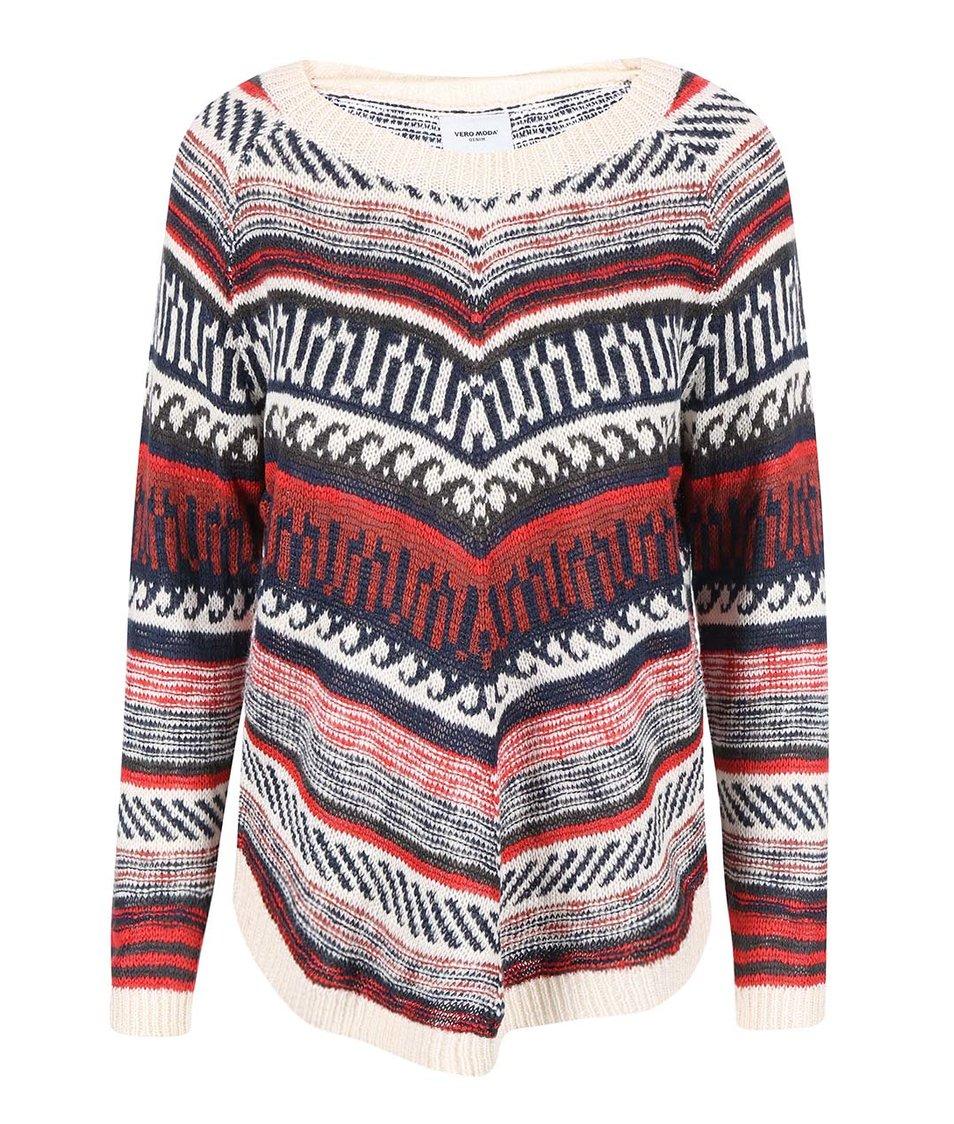 Červený pletený svetr se vzorem Vero Moda Felipa