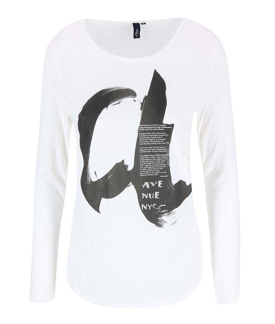 Bílé dámské tričko s černým potiskem s.Oliver