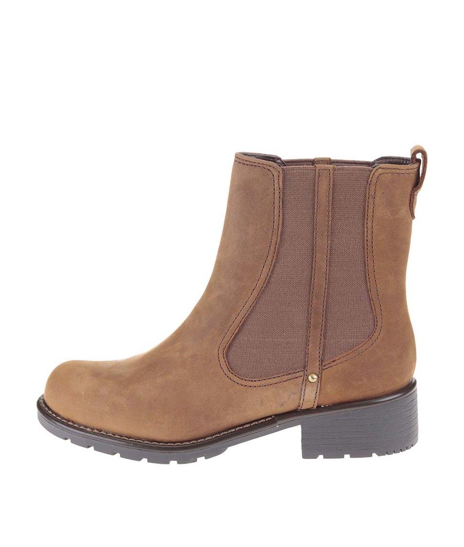 Hnědé kožené kotníkové chelsea boty Clarks Orinoco Hot