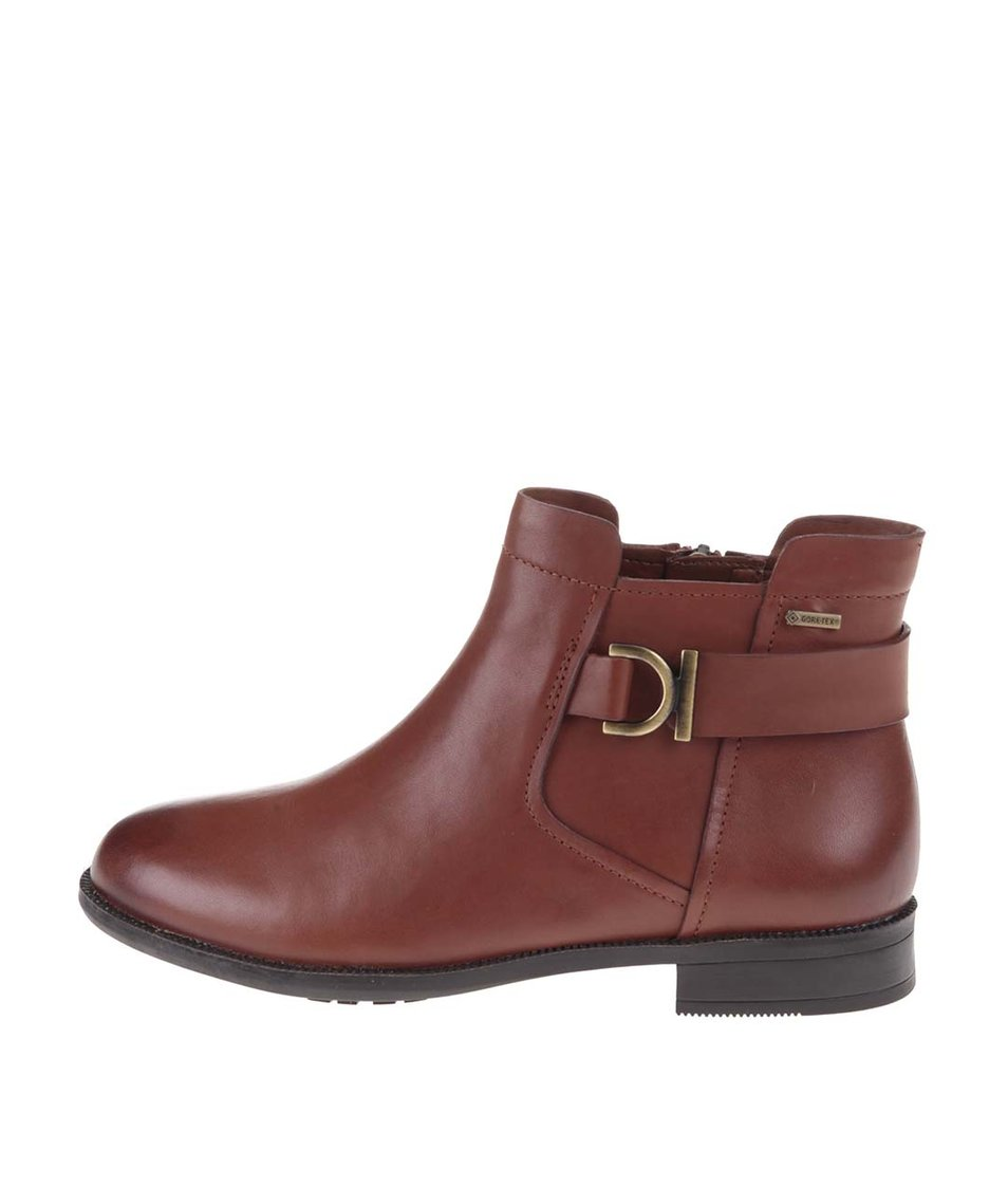Hnědé dámské kožené kotníkové boty s membránou GORE-TEX Clarks Mint Jam