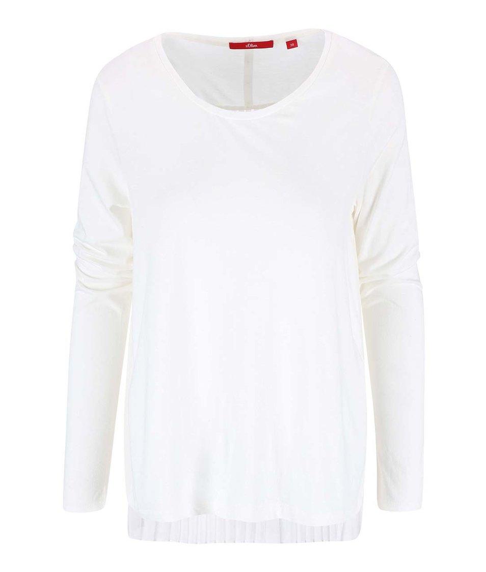 Krémové dámské tričko s plisovanými zády s.Oliver