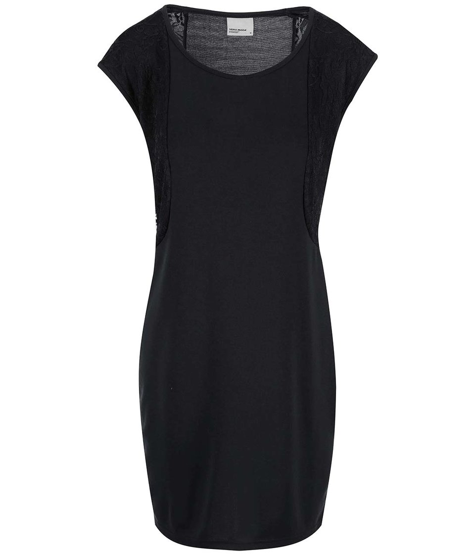 Černé šaty s krajkovým detailem Vero Moda Julia