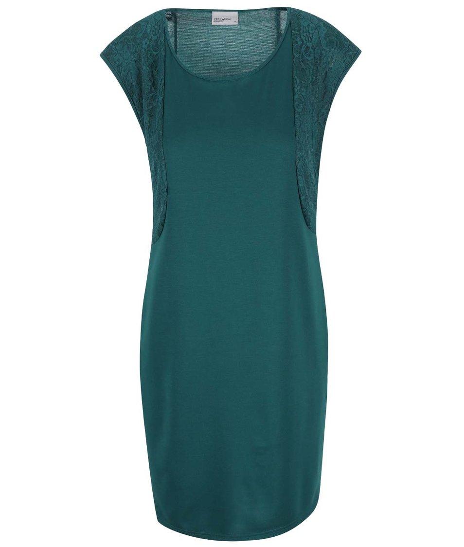 Zelené šaty s krajkovým detailem Vero Moda Julia