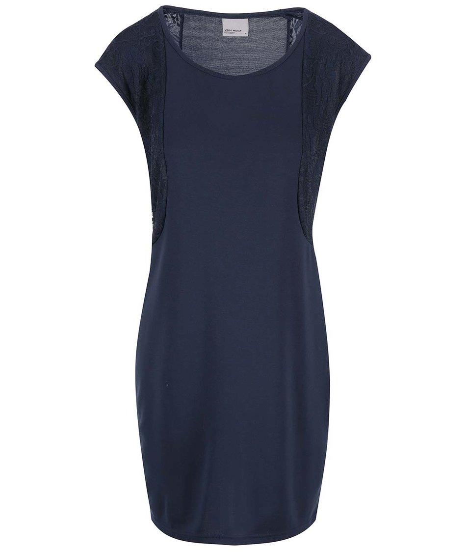 Tmavě modré šaty s krajkovým detailem Vero Moda Julia
