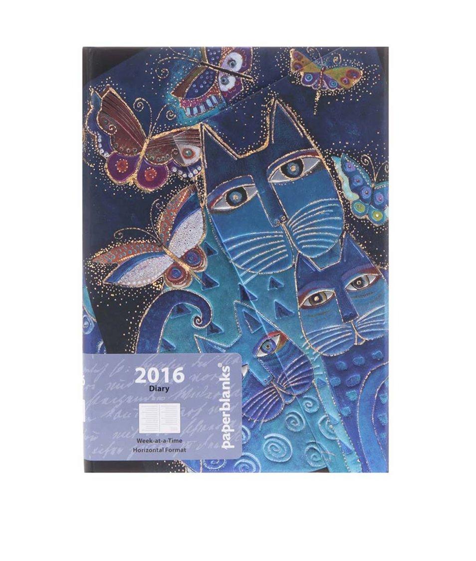 Tmavě modrý diář na rok 2016 s lesklými detaily Paperblanks Blue Cats