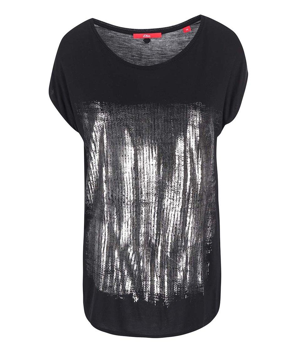 Černé dámské tričko s metalickým potiskem s.Oliver