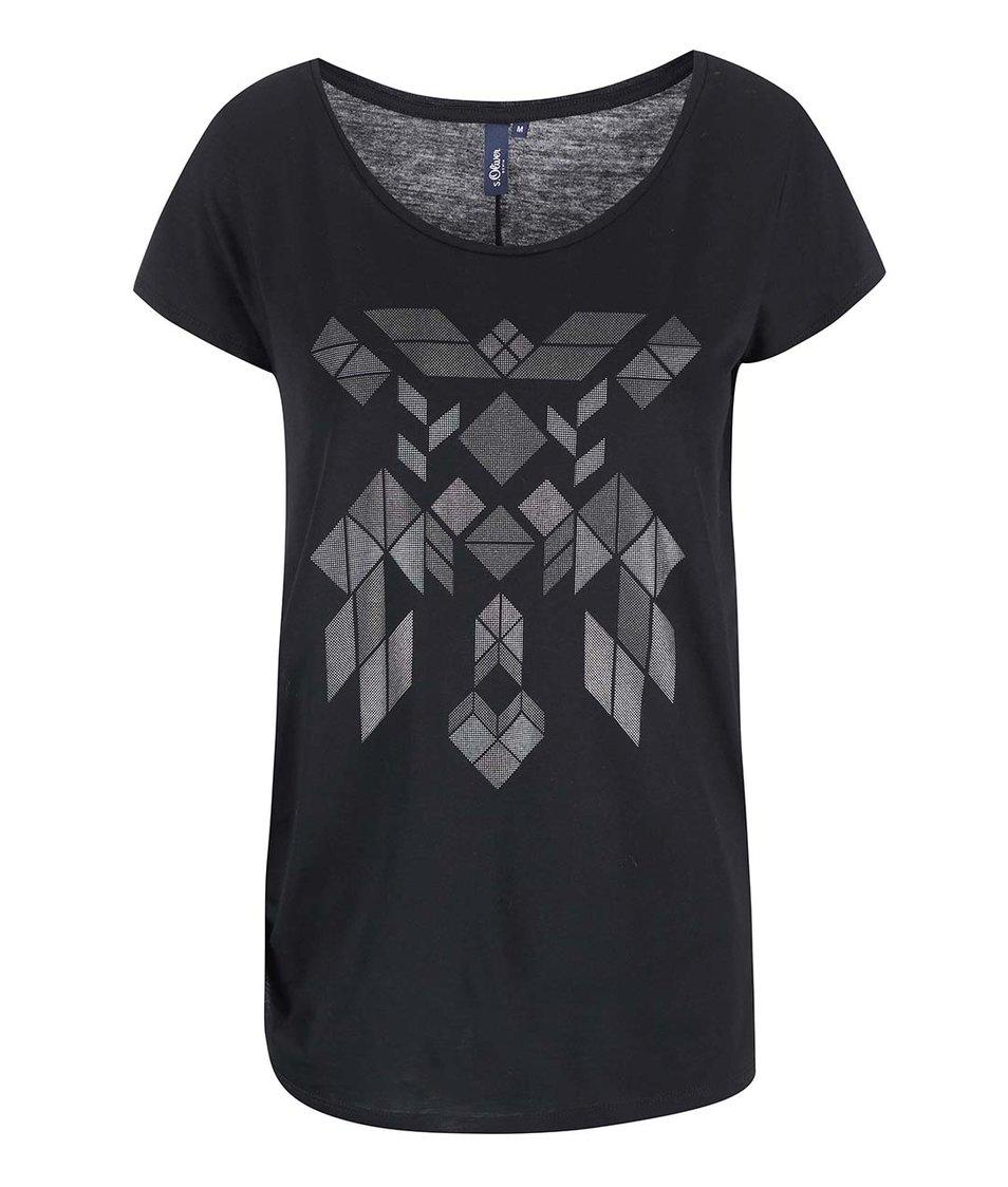 Černé dámské tričko s potiskem s.Oliver