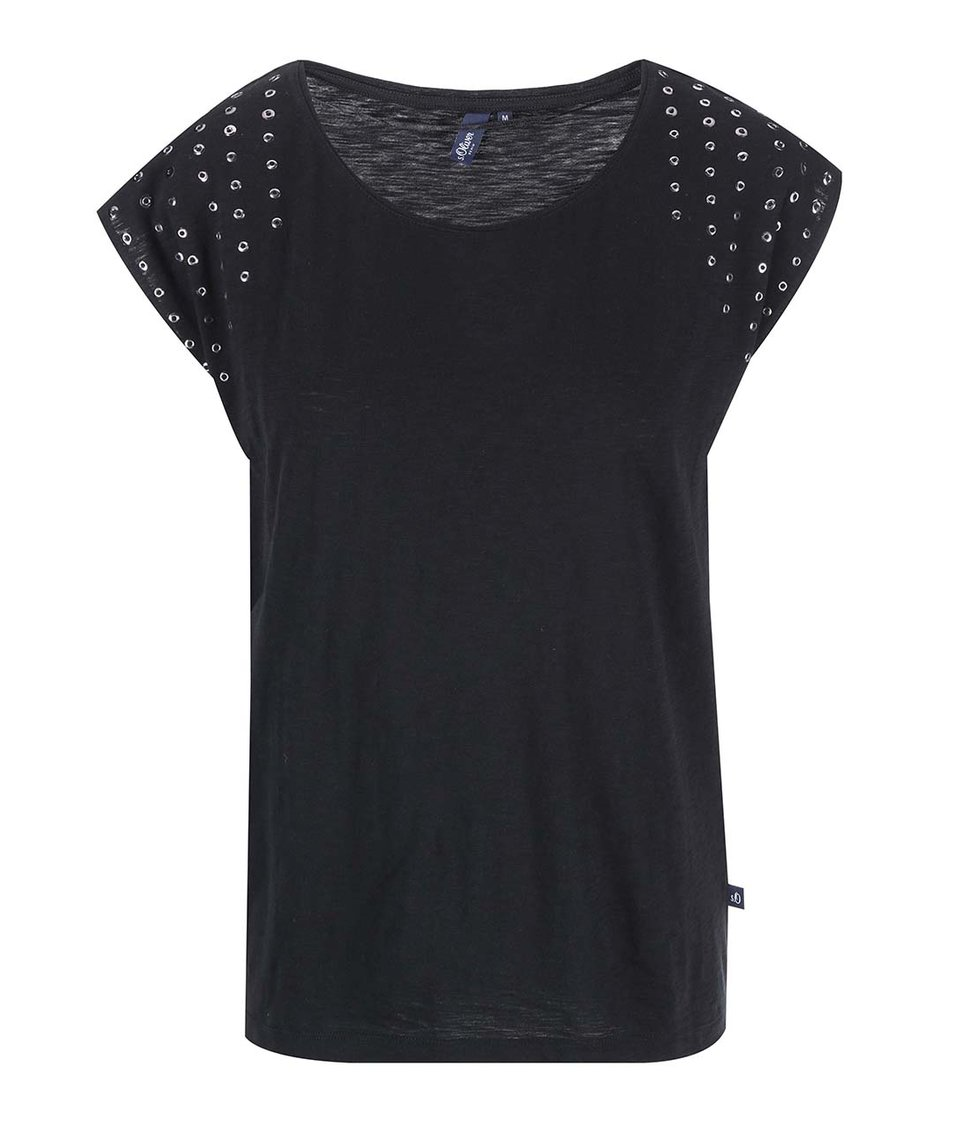 Černé dámské tričko s cvočky s.Oliver