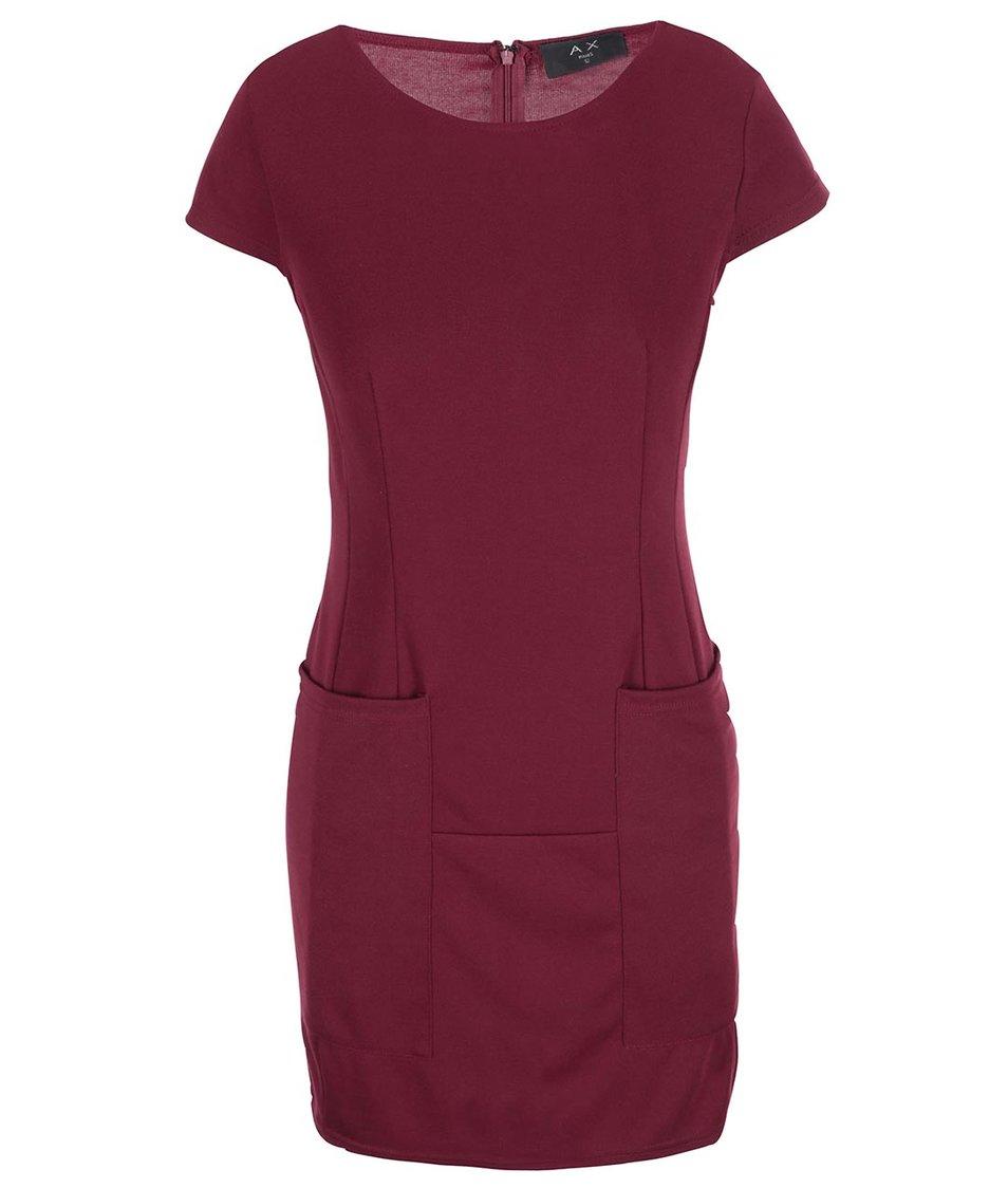 Vínové šaty s kapsami AX Paris
