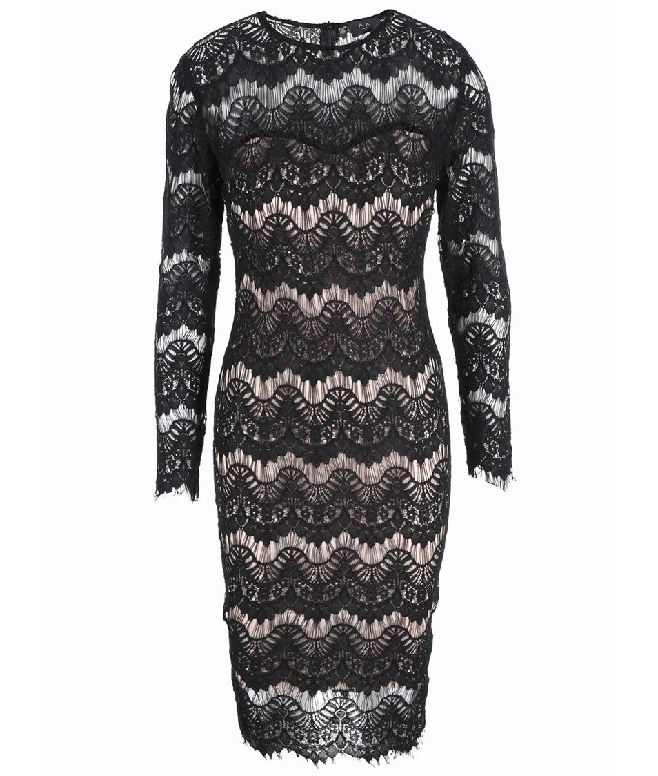 Tělovo-černé krajkované šaty s dlouhým rukávem AX Paris