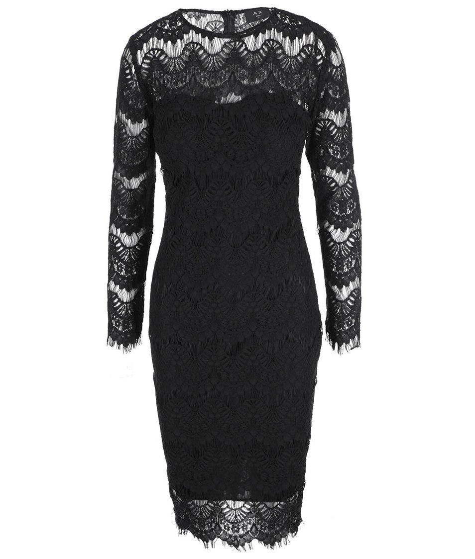 Černé krajkované šaty s dlouhým rukávem AX Paris