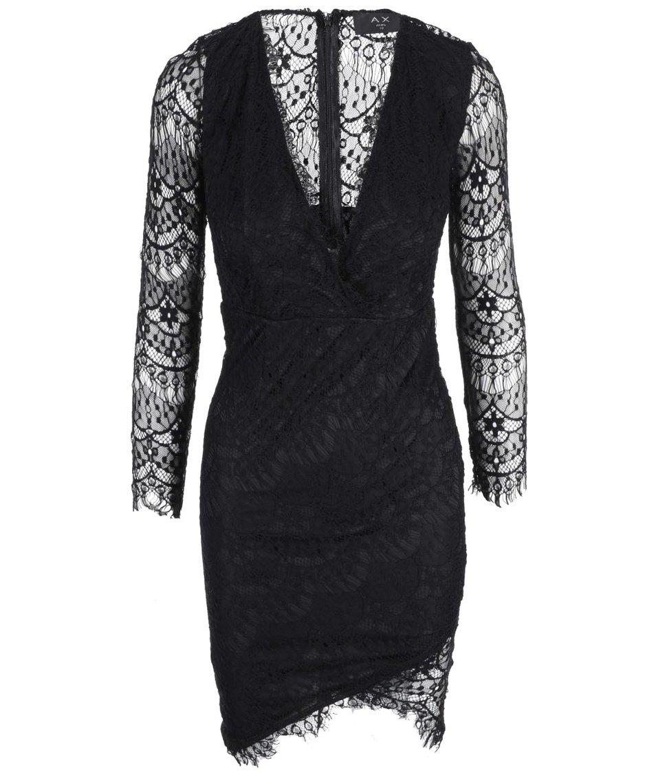 Černé krajkované zavinovací šaty AX Paris