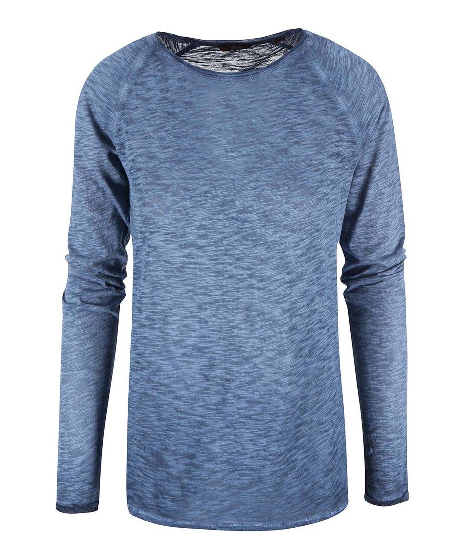 Modré dámské žíhané tričko s dlouhým rukávem s.Oliver