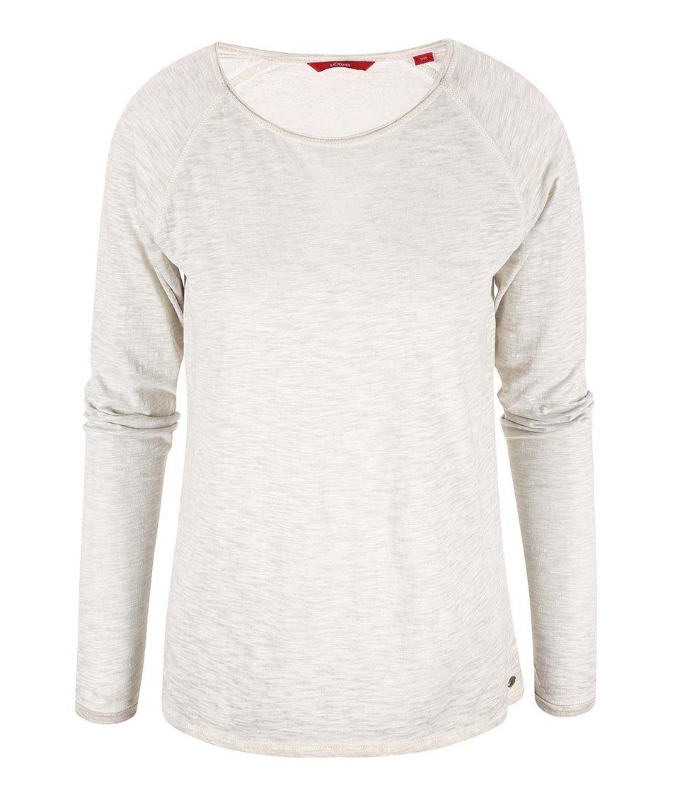 Šedé dámské žíhané tričko s dlouhým rukávem s.Oliver