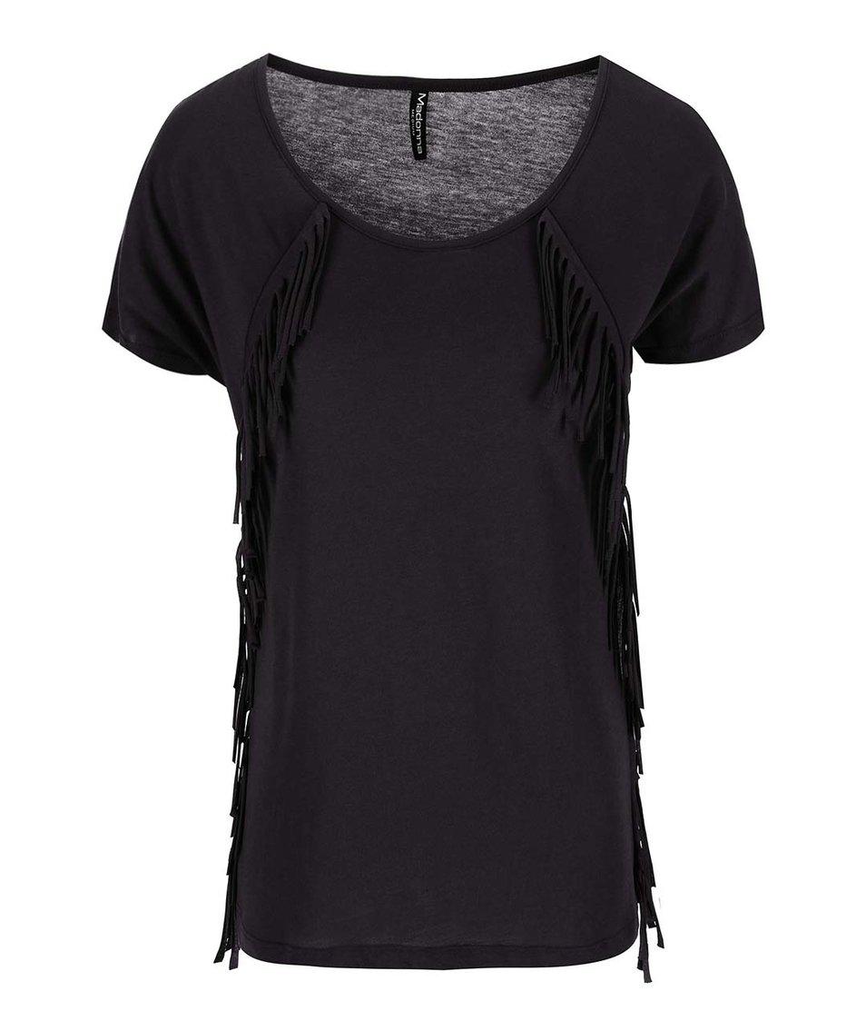 Černé tričko s třásněmi Madonna Padmi