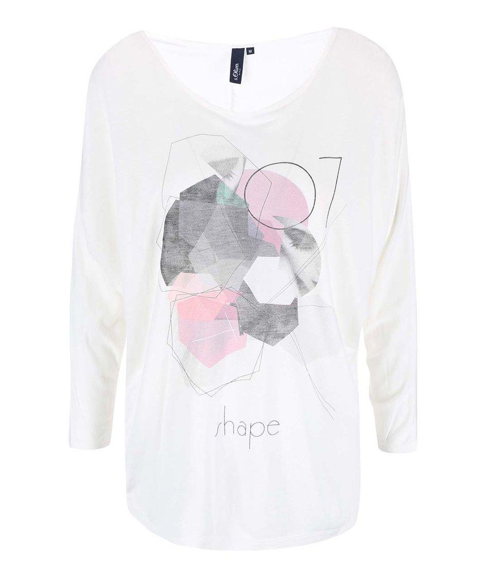 Krémové dámské tričko s kimonovými rukávy s.Oliver