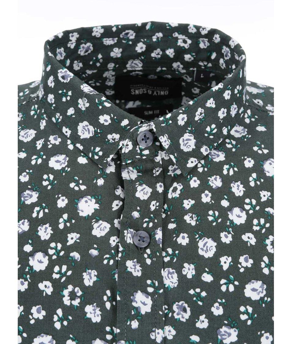 Zelená vzorovaná košile ONLY & SONS Fallon
