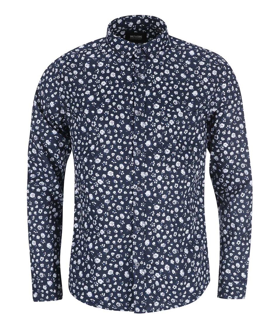 Tmavě modrá vzorovaná košile ONLY & SONS Fallon