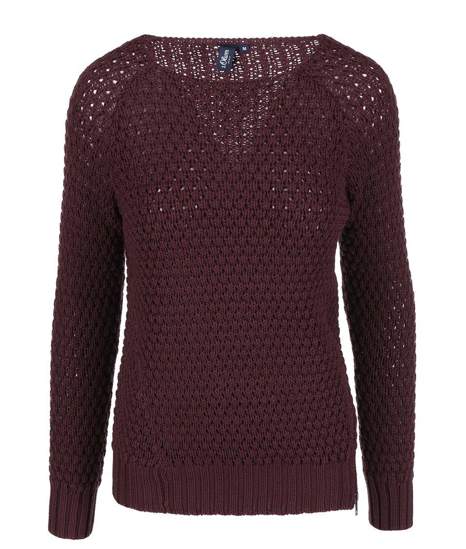 Vínový dámský svetr s ozdobným zipem s.Oliver