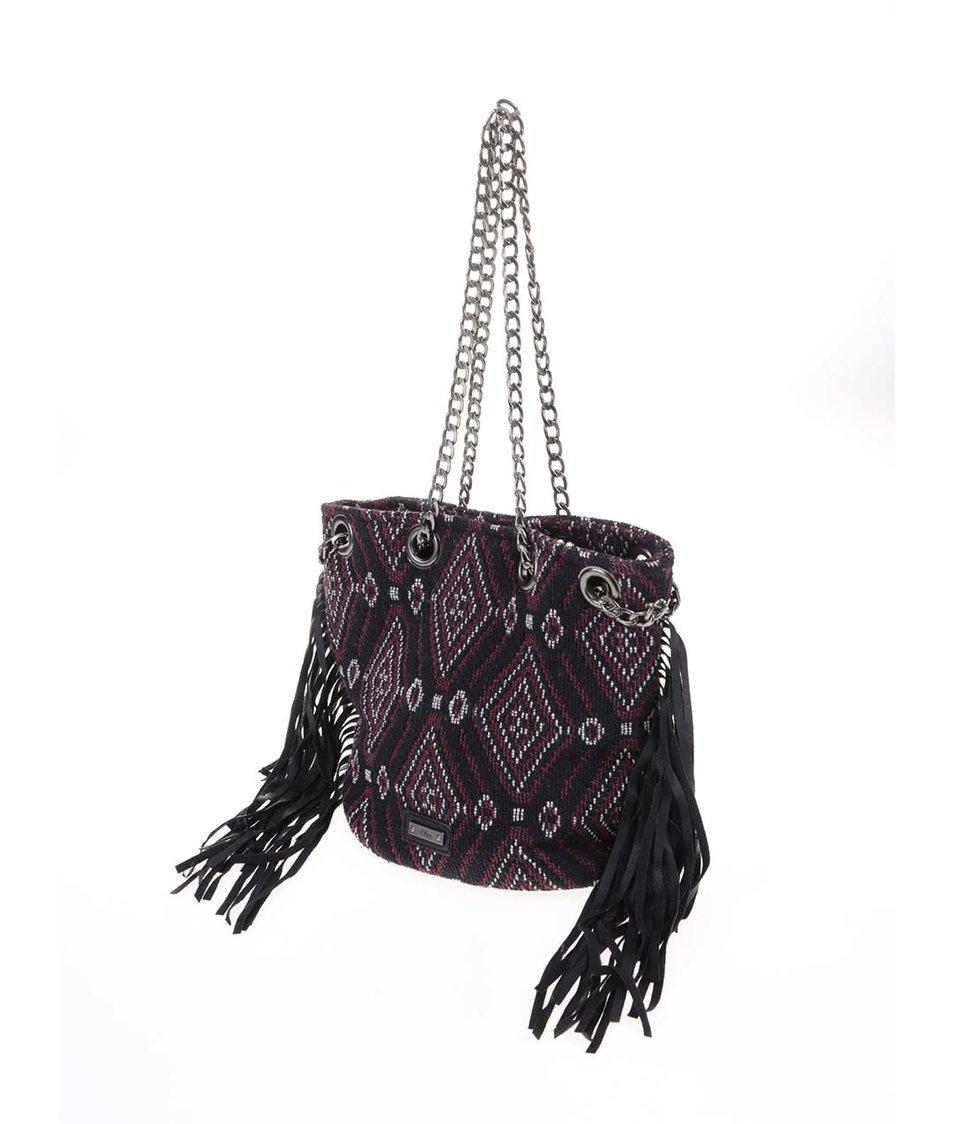Vínovo-černá malá kabelka se vzory s.Oliver