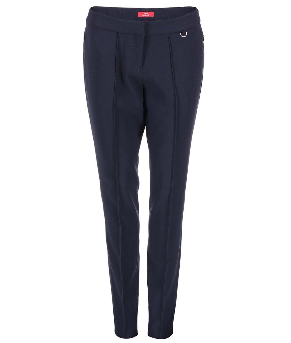 Tmavě modré dámské kalhoty s puky s.Oliver