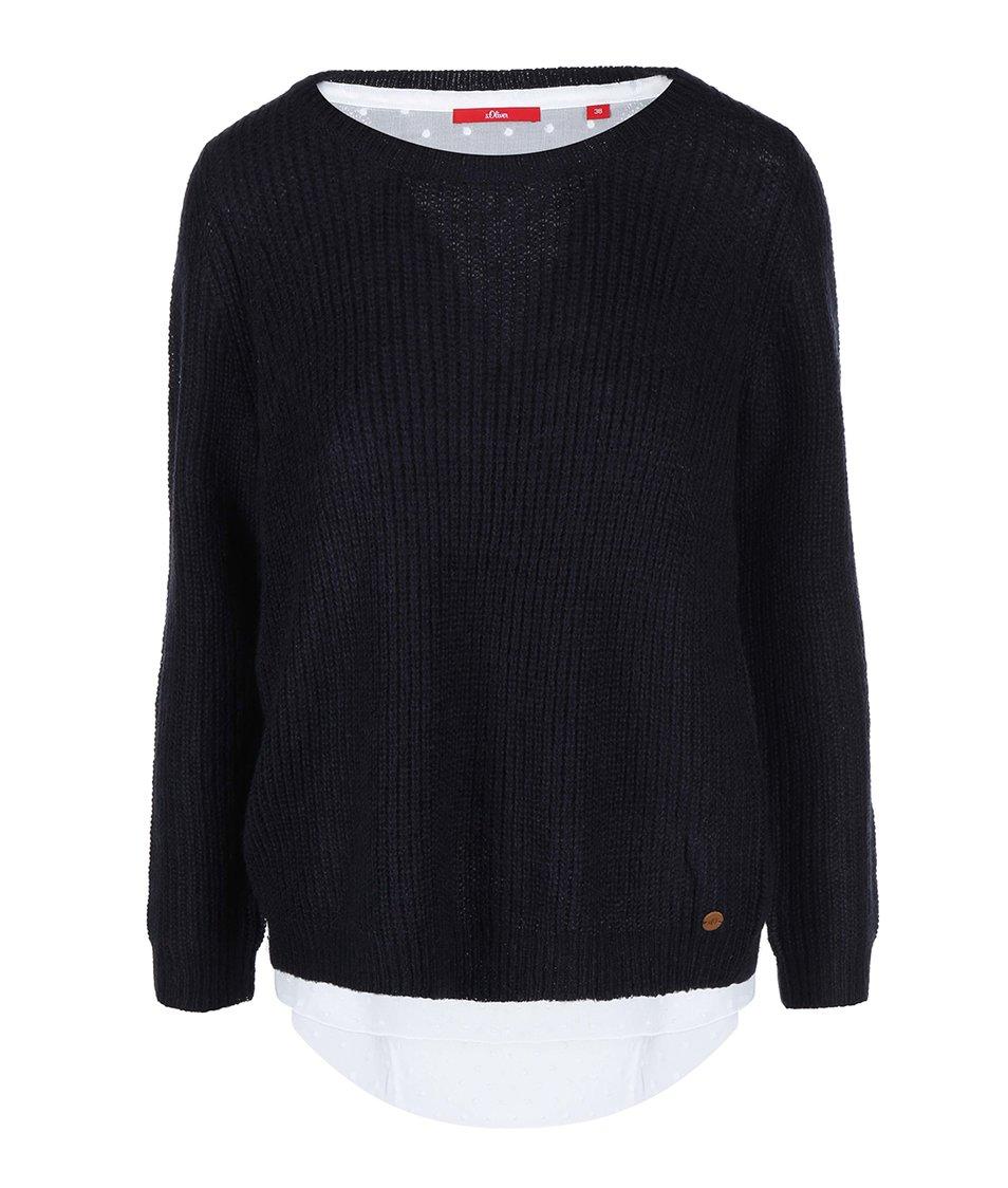 Tmavě modrý dámský svetr s všitou bílou halenkou s.Oliver