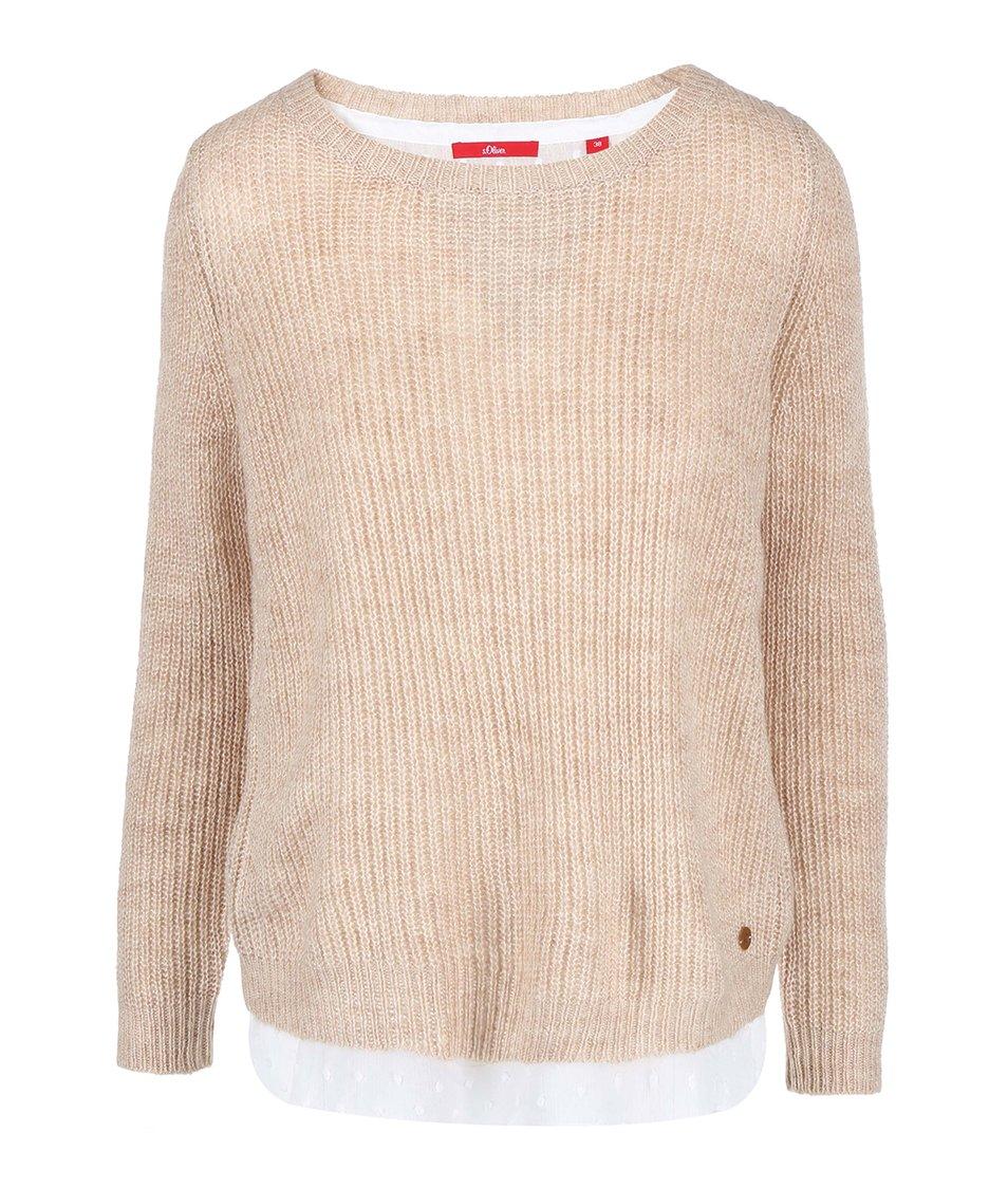 Béžový dámský svetr s všitou bílou halenkou s.Oliver