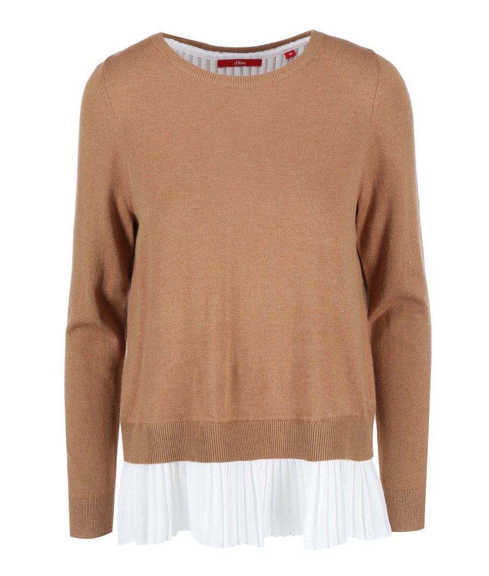Hnědý dámský svetr s všitou plisovanou halenkou s.Oliver