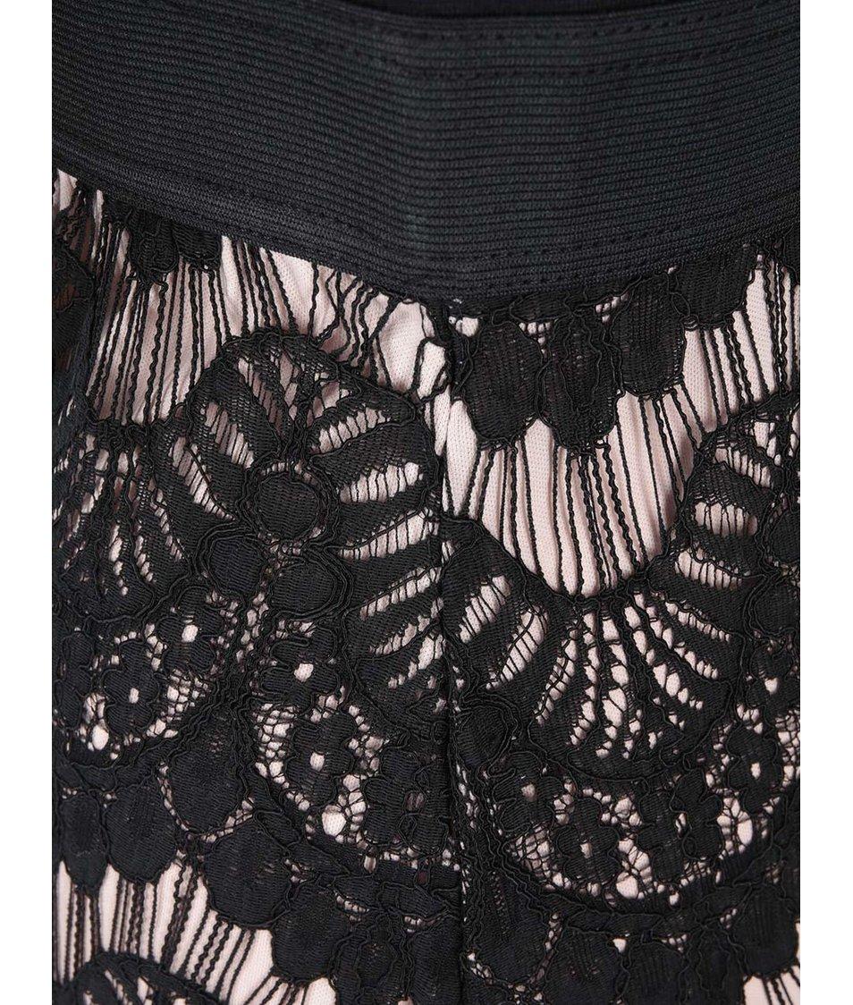 Tělovo-černé šaty s krajkovanou sukní AX Paris