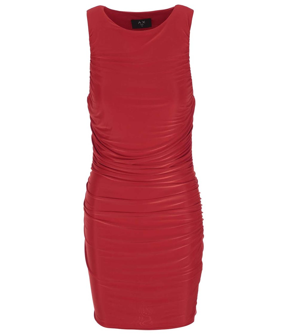 Červené šaty s nařasením AX Paris
