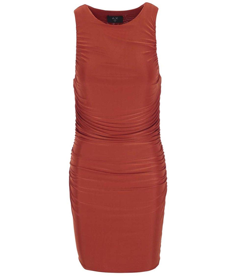 Cihlově červené šaty s nařasením AX Paris