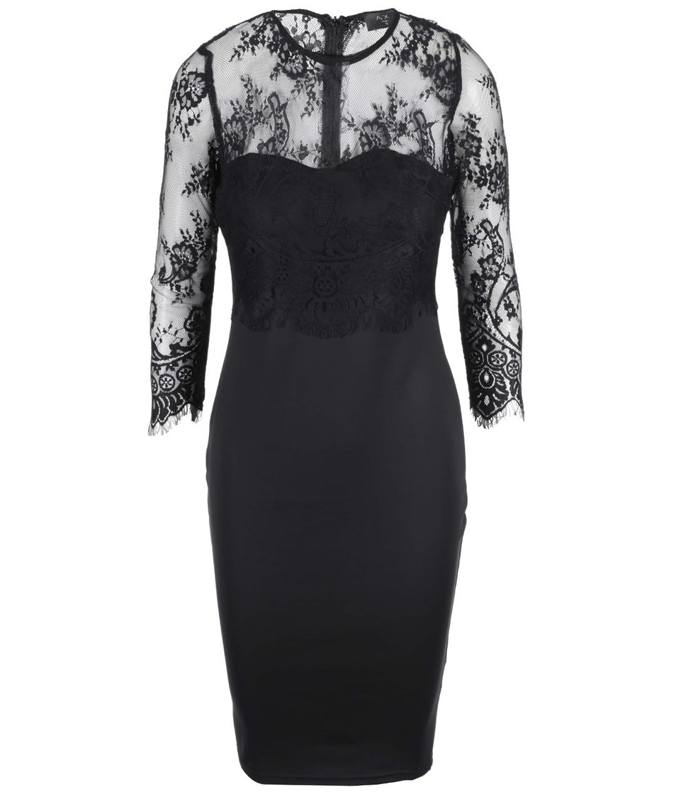 Černé pouzdrové šaty s krajkovými rukávy AX Paris