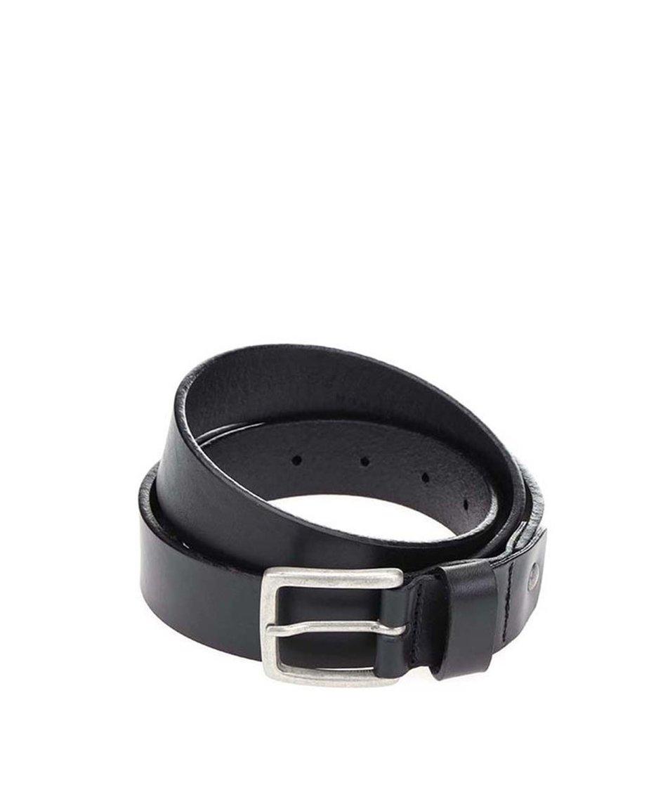 Černý kožený hladký pásek Selected Antonio