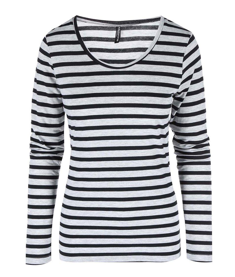 Černo-šedé pruhované tričko Madonna Loan
