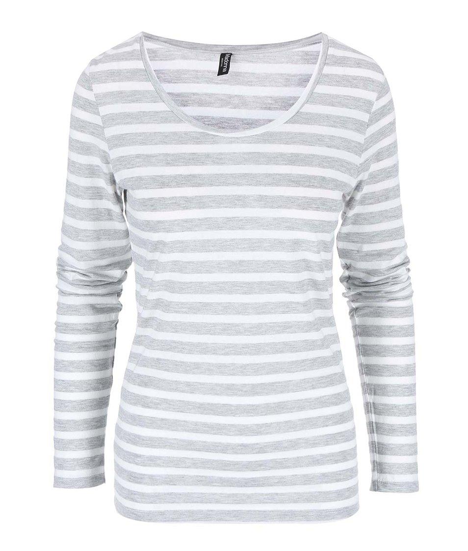 Bílo-šedé pruhované tričko Madonna Loan
