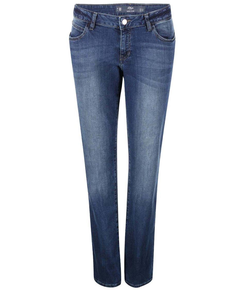 Modré dámské slim džíny s ošoupaným efektem s.Oliver